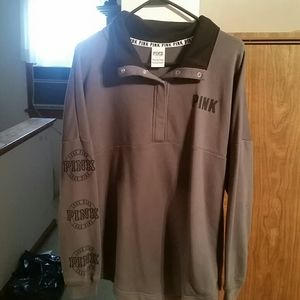 PINK oversized button up sweatshirt